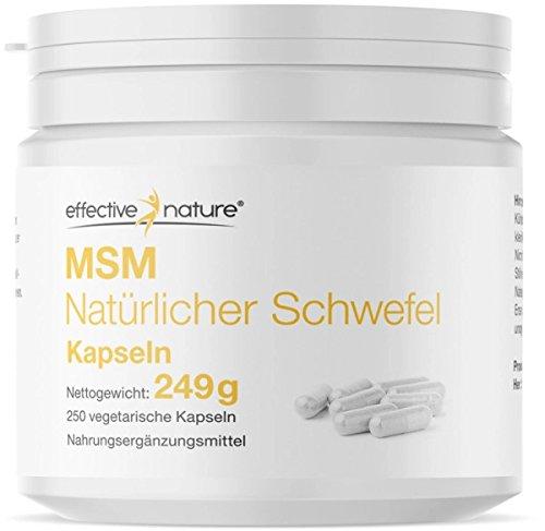 Effective Nature - MSM Natürlicher Schwefel | 99,9 % Reinheit | Beste kontrollierte Qualität | Hochdosiert mit 3400 mg MSM pro Tagesdosis | MSM aus den USA | Ohne Zusatzstoffe | 250 Kapseln -