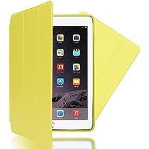 Apple iPad Air 2 Funda Smart-Case de NICA, Carcasa Ultra-Fina Protectora Plegable con Cuero Sintetico Vegan, Bumper Cover Doble Protección Cubierta con Trifold Stand para Tablet Movil - Amarillo