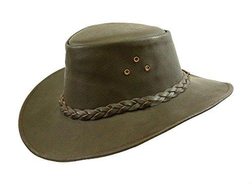 Kakadu Traders Lederhut Murray in braun mit geschwungener Krempe und geflochtenem Hutband | Herren Damen Größe XXL | 2.Wahl