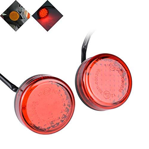NATGIC 2PCS Universale Rotondo Rosso Lente 24LED riflettori luci di Coda Freno segnali Luminosi per Auto Camion rimorchio ATV Moto