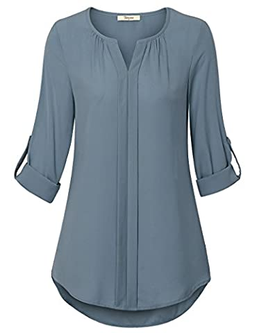 Chiffon Tops for Women,Bebonnie Notch Neck Pleated Blouse 3/4 Sleeve Curved Hem Office Tee Shirts Blue Grey,Medium