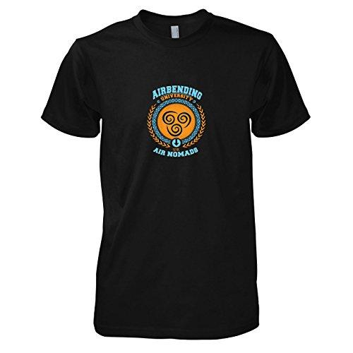 TEXLAB - Airbending University - Herren T-Shirt, Größe L, schwarz (Aang Avatar Die Last Airbender Kostüm)