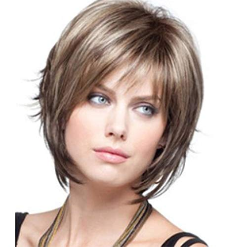 High Quality Reusable Sexy Blonde Brown Wig Short Wig Full Cover Bang Styling Cool Wigs For Women Girls