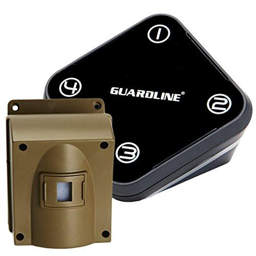 Alarme d'allée sans fil Guardline - Détecteur de mouvement à l'épreuve des intempéries de haute qualité - Meilleur système d'alerte de sécurité à monter soi-même - Protégez votre maison, votre proprié