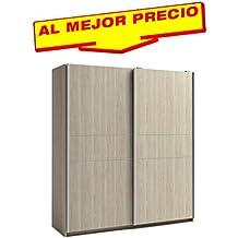 ARMARIO ROPERO DE DOS PUERTAS CORREDERAS COLECCIÓN MUNDOO, COLOR SABLE, MEDIDAS 182X200 CM - OFERTAS DE HOGAR ¡AL MEJOR PRECIO!