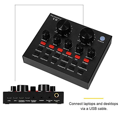 Diyeeni Consola mezcladora de Audio móvil, Multifuncional USB Tarjeta de Sonido en Vivo Volumen Inteligente Grabación de Voz Tarjeta de Sonido para transmisión en Vivo, Hosting Speech, Karaoke