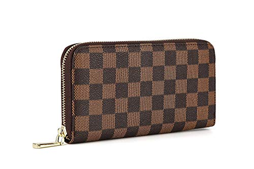 Daisy Rose Frauen'S Checkered Zip Around Wallet und Telefon Clutch - Rfid Blockierung mit Kartenhalter-Organisator -Pu Vegan Leder, Klein Braun (Brieftasche Damen Louis Vuitton)