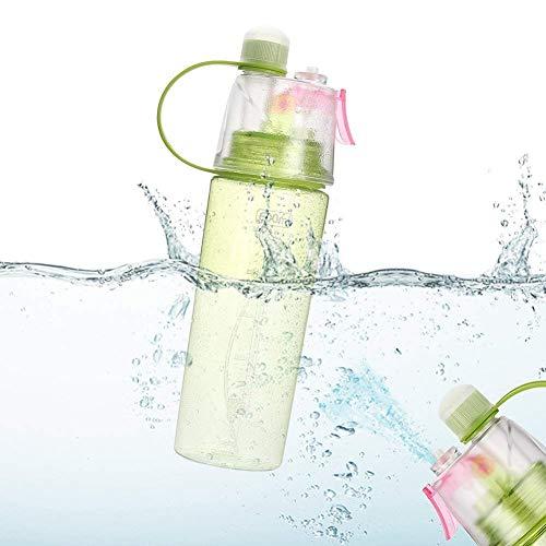 JOYYI Sportnebel-Wasserflasche, umweltfreundlich, BPA-frei, Kunststoff, wiederverwendbar, mit auslaufsicherem Deckel für Laufen, Fitnessstudio, Yoga, Outdoor, Camping, 0,6 l
