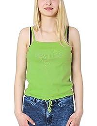 Brubaker - Camiseta sin mangas - Top corto - Básico - Sin mangas - para mujer
