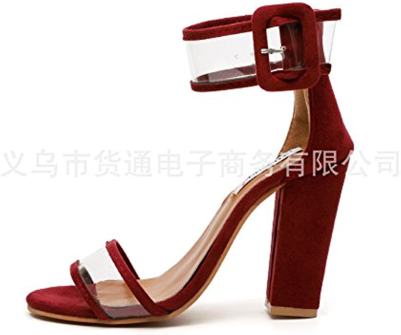 Donyyyy Los tacones altos de las mujeres zapatos y sandalias de tacón irregular,rojo vino,44 -