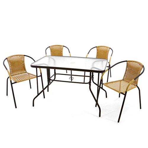 Nexos 5-teiliges Gartenmöbel-Set - Gartengarnitur Sitzgruppe Sitzgarnitur aus Bistrostühlen & Esstisch - Stahl Kunststoff Glas - beige Dunkelbraun