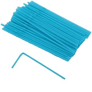 50 Bendy Drinking Straws in a Summer Party Neon Blue colour