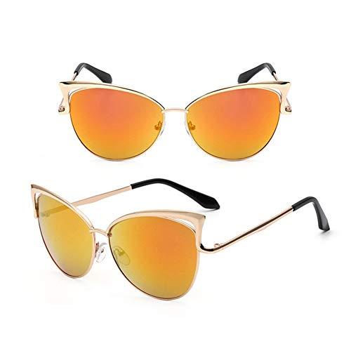 CLZC Cat Eye Sonnenbrillen Damen Sonnenbrillen Alloy Frame Vintage Glasses UV400,Gold Rot -