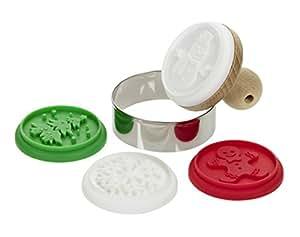 Lurch 10522 Noël Lot de 6 Tampons pour Biscuit motif Bois/Silicone/Métal Blanc/Rouge/Vert 20 x 15 x 10 cm
