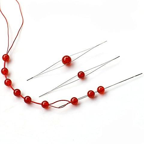 5tailles différentes de perles fait main ultrafine aiguille -- Porter perles fil ouverture au milieu des aiguilles Grand oeil broches Craft point Supports pour DIY Manuel–Collier Femme–Perles aiguille filetage Porter épingles