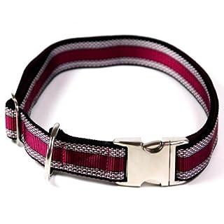 Hundehalsband, Alu-Max®, Soft Nylon, Pflaume mit Muster, 30-50cm, 20mm