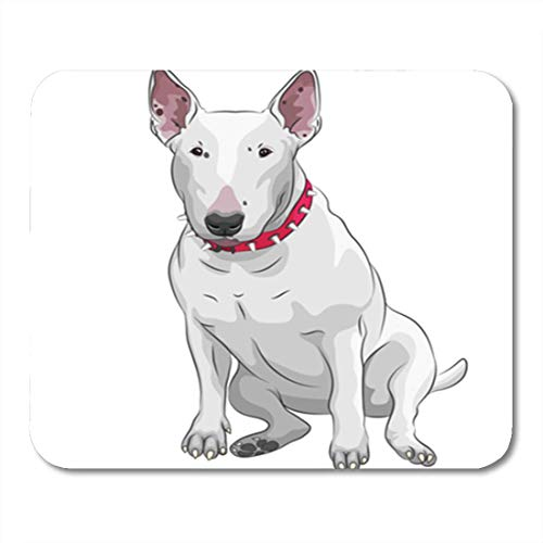HOTNING Gaming Mauspad Brown Breed Color Sketch of White Bull Terrier Dog Sitting The Red Animal Drawing 11.8