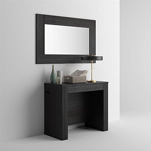 Mobilifiver tavolo consolle allungabile con porta prolunghe, easy, nero frassino, 90 x 45 x 76 cm, nobilitato/alluminio, made in italy