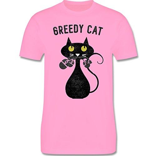 Nerds & Geeks - Greedy Cat - Nerdy Cats - Herren Premium T-Shirt Rosa