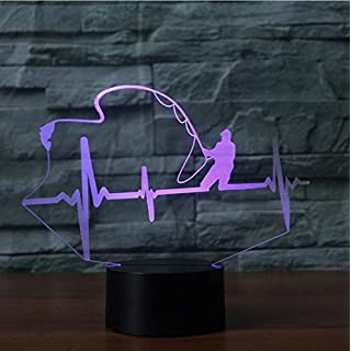 Gift Night Lights 7 Color Change 3D Night Light Electrocardiogram Shape Table Lamp Led Luminaria Creative Fishing Anglers Kids Gift Light Fixtures