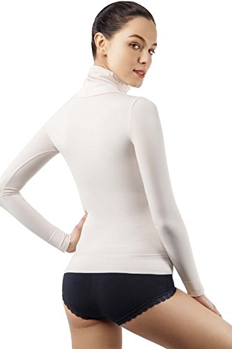 MD Basic Figurformender langärmlig Rollkragen T-Shirt Thermo Unterwäsche Taille Bauch und Büste BodyShaper Beige