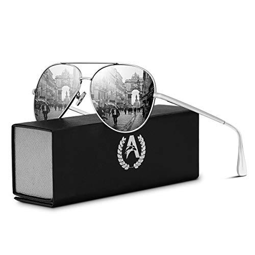 VVA Sonnenbrille Herren Pilotenbrille Polarisiert pilotenbrille Polarisierte Sonnenbrille Herren Pilot Unisex UV400 Schutz durch V101(Silber/Silber)