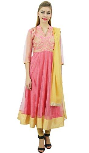 Atasi Designer Pink Anarkali Kurti mit Dupatta Churidar gesticktes Netz Dress-42