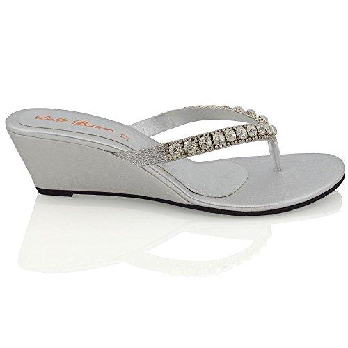 Essex Glam Sandalo Donna con Zeppa Bassa Finto Diamante Effetto Scintillante Argento