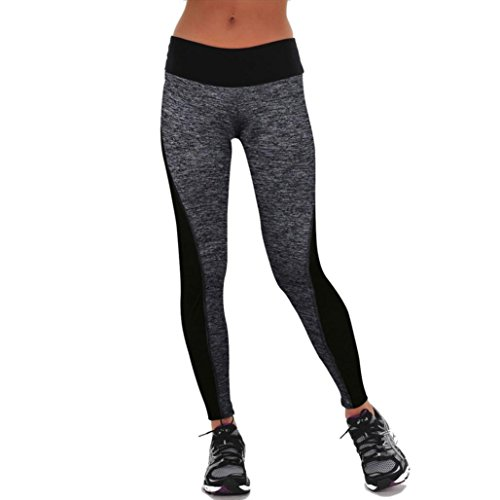 FEITONG Las mujeres se divierte los pantalones de las polainas del Athletic Gym Yoga Fitness Workout Pantalones (M, Gris)