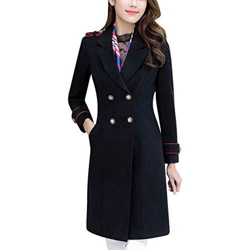 Verdickter Damenmantel Zweireihig Business Wear Wolljacke Mittellanger Reverskragen Schwarze Sakkojacke für die Arbeit (L'rain Kostüm)