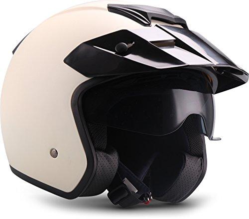 Soxon S77 'Creme' · Jet-Helm · Motorrad-Helm Roller-Helm Scooter-Helm Bobber Mofa-Helm Chopper Retro Cruiser Vintage Pilot Biker Helmet · ECE Visier Schnellverschluss SlimShell Tasche S (55-56cm)