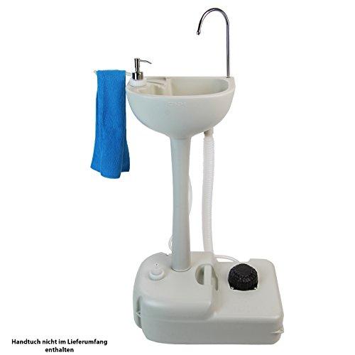 BB SPORT Mobiles, tragbares Camping Waschbecken mit Fußpumpe und Seifenspender 19 Liter Frischwassertank