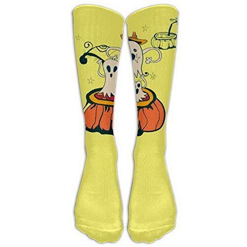 Women Teens Casual Warm Winter Knee High Socks Halloween Party Cute Funny Pumpkin Ghost Men 1 Pair Long Tube Stockings for Athletic Football