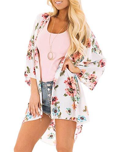 Damen Flowy Chiffon Kimono Cardigan Boho Style Beach Cover Up Casual Lose Top - - Large (Junior Badeanzug Ups Cover)