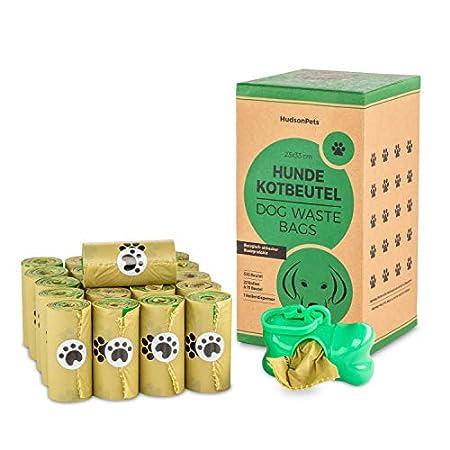 HudsonPets Hundekotbeutel 330 Stück, biologisch abbaubar und umweltfreundlich aus Maisstärke inkl Beutelspender mit Clip…