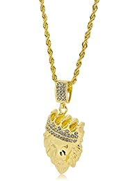 Bling King Gold Plated King Lion Head Pendant with Diamond Cut Rope Chain Hip Hop Necklace
