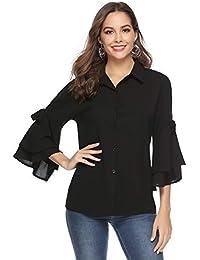 2692fd5bf5576e Aibrou Damen Chiffon Bluse 3/4 Arm Langarmshirt Casual Elegant Hemd  Oberteil Tops Shirts mit Volant…