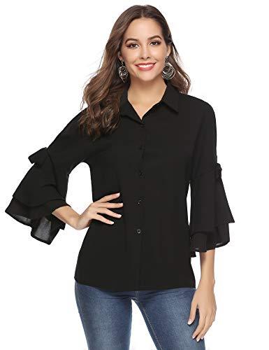 Aibrou Camicie Donna di Chiffon con Scollo a V Maniche a 3/4 Camicetta Elegante Blusa Casual con Bottone Magliette alla Moda Donna
