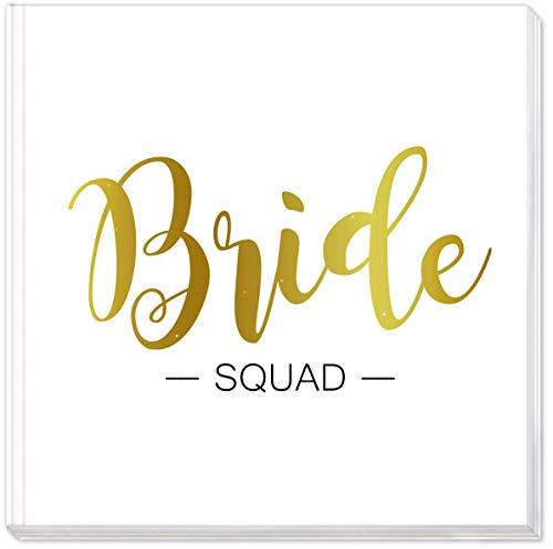 """Sophies Kartenwelt Gästebuch \""""Bride Squad\"""" mit Goldprägung - Hardcover Einband - Format 21x21cm - mit 144 weißen Seiten für den Junggesellinnenabschied"""