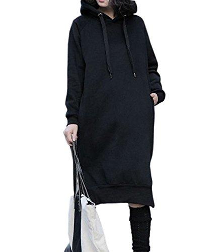 Nutexrol Damen Winter Hoodie Kapuzenpullover Lang Kapuzenjacke Sweatjacke Übergröße Kleider Sweatshirt Warm Outwear mit Fleece-Innenseite Schwarz EU 54