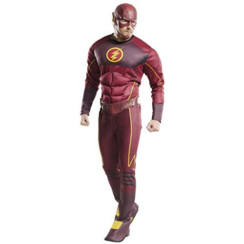 Männer Kostüm Flash - Amakando Herrenkostüm Blitz - XL (56/58) - Superhelden Kostüm Flash Gordon Superhero Outfit Erwachsene Marvel Heldenkostüm Männer Superheld Kostüm Herren The Flash Kostüm Deluxe