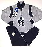 Inter Pigiama Felpato F.C. Internazionale Homewear Tuta Prodotto Ufficiale Uomo Adulto (M, Grigio Melange)