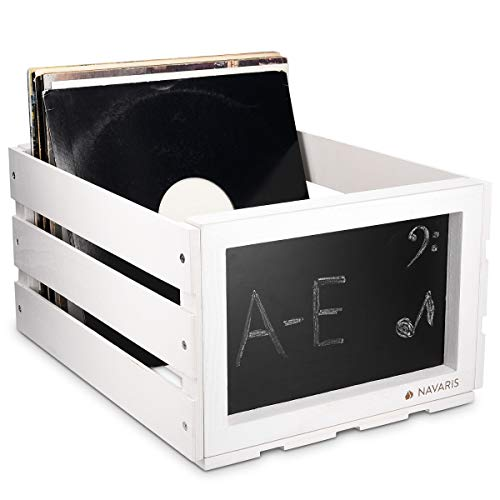 Navaris Wooden Record Storage Crate - Vinyl Album Stackable Retro Rustic Holder Box Wood Case with Chalkboard Sign Board for 66 LP Records - White