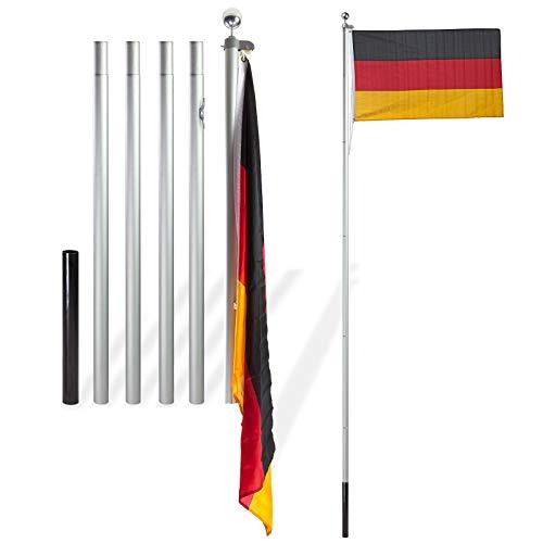 TronicXL XXL Fahnenmast 6,1m Alu Aluminium Mastrohr + große Deutschland Fahne Deutschlandfahne + Seilzug