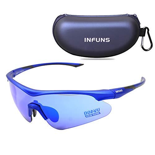 Infuns Sport Sonnenbrille, Anti Fog ANSI Z87 + Schutzbrille mit Etui, zum Radfahren Laufen Fahren Racquetball (Blaue Linse)