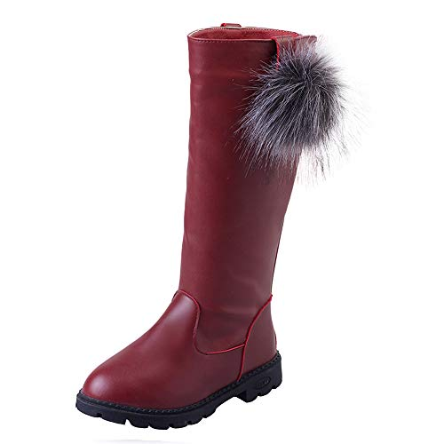 Beikoard Kinder Kind Baby Mädchen über Das Knie warme Stiefel Winter Schuhe Hohe Stiefel Weihnachtsfeiertags Stiefel Lässige Stiefel