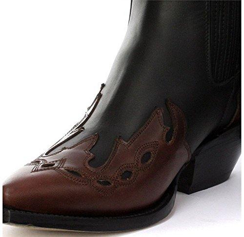 Herrenstiefel Braun Cowboy Design Grinder Arizona Echtleder Western Cuban Stil Braun