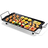 BBQ Grill Electric Grill Plate Non-Stick Coating Smoke-Free Kitchen Electric Grill Plate with Drip Tray and Temperature Control for Inside O