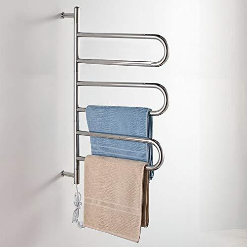ASDUN Elektro Bad-Heizkörper,Heizkörper für Wandmontage HandtuchwäRmer Chrom,Öffnen Handtuchtrockner Rostfreier Stahl 83W