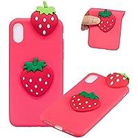TPU Hülle für iPhone XS,Weich Silikon Hülle für iPhone X,Moiky Komisch 3D Erdbeere Entwurf Ultra Dünnen Scratch Resistant Soft Rückseite Abdeckung Handyhülle